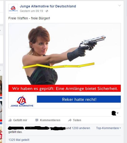 """""""Freie Waffen für freie Bürger"""" - die JA macht deutlich, gegen wen sie das Waffenrecht """"liberalisieren"""" will."""